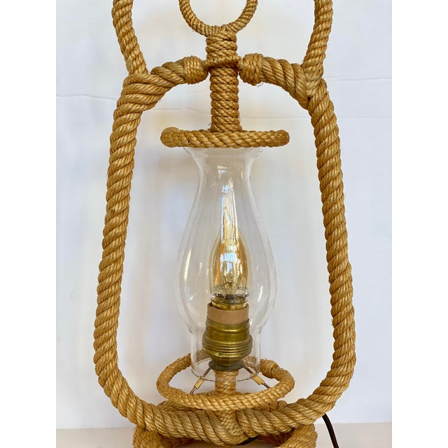 Coastal 1950s Audox Minet French Lantern Rope Table Lamp For Sale - Image 3 of 8