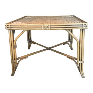 20th Century Boho Chic Rattan and Rope Center Table For Sale