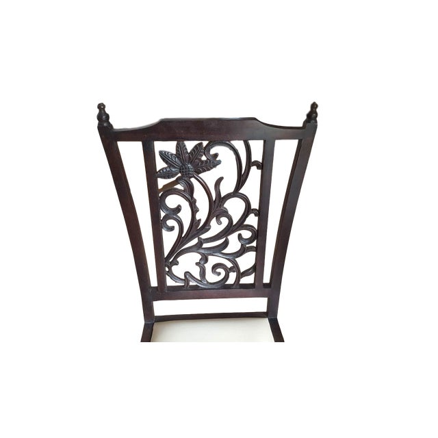 Teak Wood Carved Back Dining Chairs - Set of 6 - Image 4 of 5