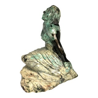 Emerald Matrix Hand Carved Statue of Woman For Sale