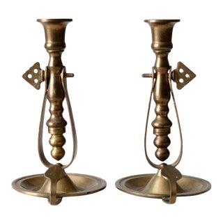 Antique Brass Chambersticks - a Pair For Sale