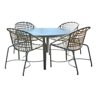 1960s Mid-Century Modern Brown Jordan Kantan Patio Dinette Set - 5 Pieces