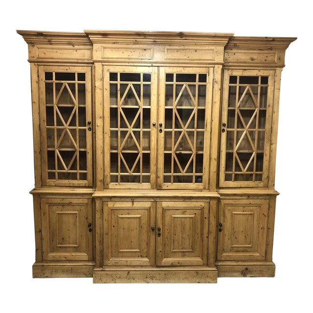 Chippendale Solid Knotty Pine and Glass Breakfront Bookcase For Sale