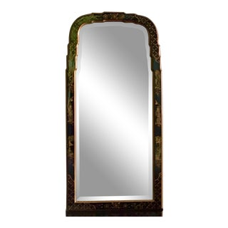 1980s La Barge Style Queen Anne Hand Painted Black Lacquer Mirror For Sale