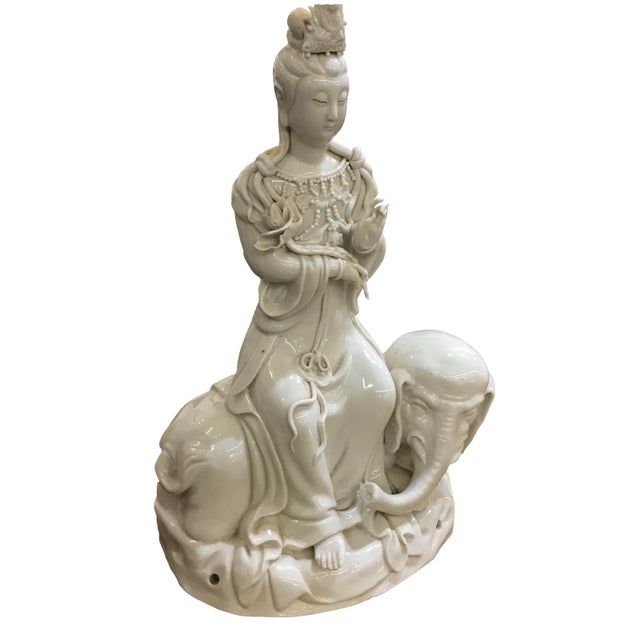 Mid 20th Century Mid 20th Century Chinese Blanc De Chine Figure on Elephant For Sale - Image 5 of 5
