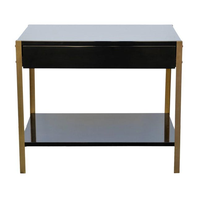 "Metal Contemporary ""Laque"" Black Lacquer and Brass Night Stand For Sale - Image 7 of 7"