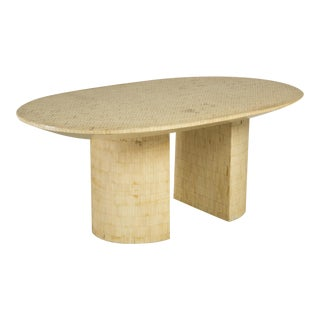 An Unusual Oval Tessellated Bone Double Pedestal Dining Table