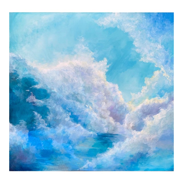"""Christine Elise """"The Meaning of a Day"""" Contemporary Sky and Clouds Oil Painting For Sale"""