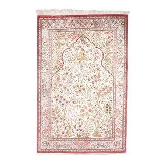 "Persian Silk QUM Rug - 4'3"" X 6'7"" For Sale"