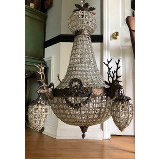 1970s Large Aged Bronze Deer Head Stag Chandelier Preview