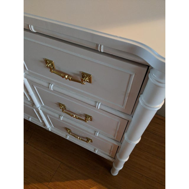 1970s 1970s Chinoiserie Henry Link Faux Bamboo High Gloss White Nine Drawer Dresser For Sale - Image 5 of 8