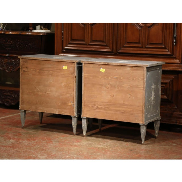 Early 20th Century French Painted Nightstands or Commodes - a Pair For Sale - Image 10 of 11