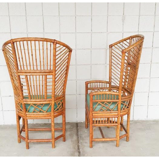 Bamboo High Back Arm Chairs- A Pair - Image 3 of 6