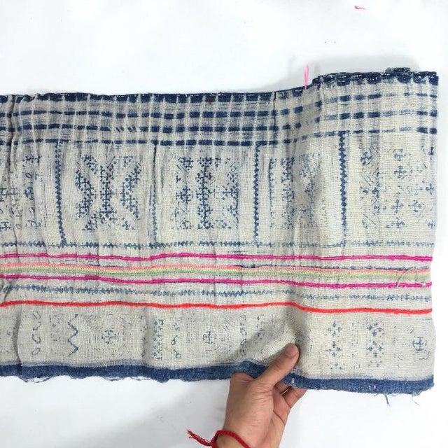 Vintage Batik Hmong Textile Hemp Indigo Runner - Image 3 of 6