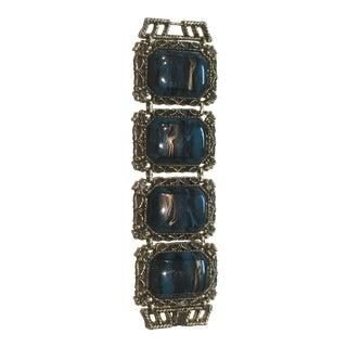 Wide Teal Lucite Panel Bracelet For Sale