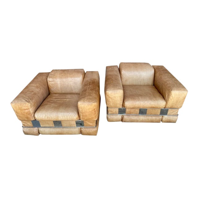 Adrian Pearsall Leather Arm Chairs - a Pair For Sale