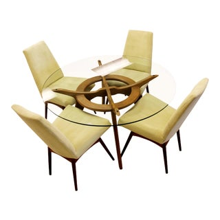 Mid-Century Modern Adrian Pearsall Compass Dinette Dining Table and Four Chairs - Set of 5 For Sale