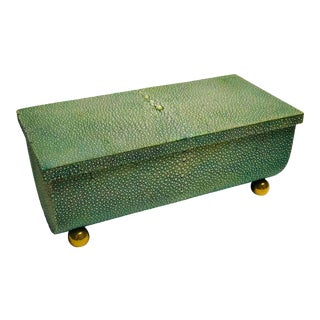 1920s Green Shagreen Box With Sliding Top Lock Hinge, Brass Ball Feet For Sale
