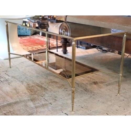 Metal Two Tiered Brass and Mirrored Coffee Table For Sale - Image 7 of 7