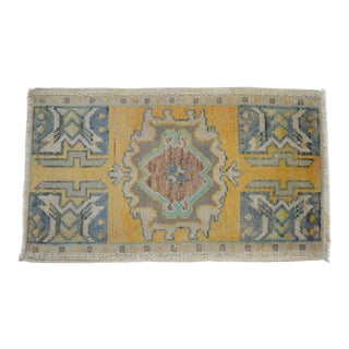 Distressed Low Pile Rug Turkish Yastik Petite Rug Faded Mat - 19'' X 33'' For Sale