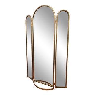 1970's Vintage Jb Ross Full Length Brass Tri Fold Mirror For Sale