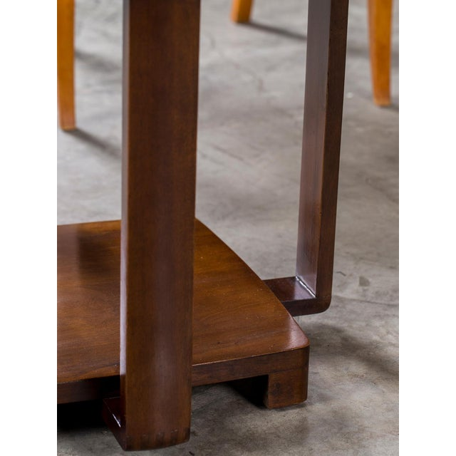 Brown Art Deco Vintage French Walnut Table circa 1930 For Sale - Image 8 of 9