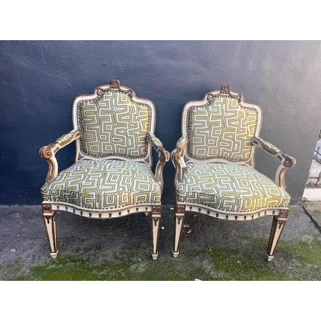 Early 19th C. Italian Painted Carved Arm Chairs- A Pair For Sale - Image 12 of 12