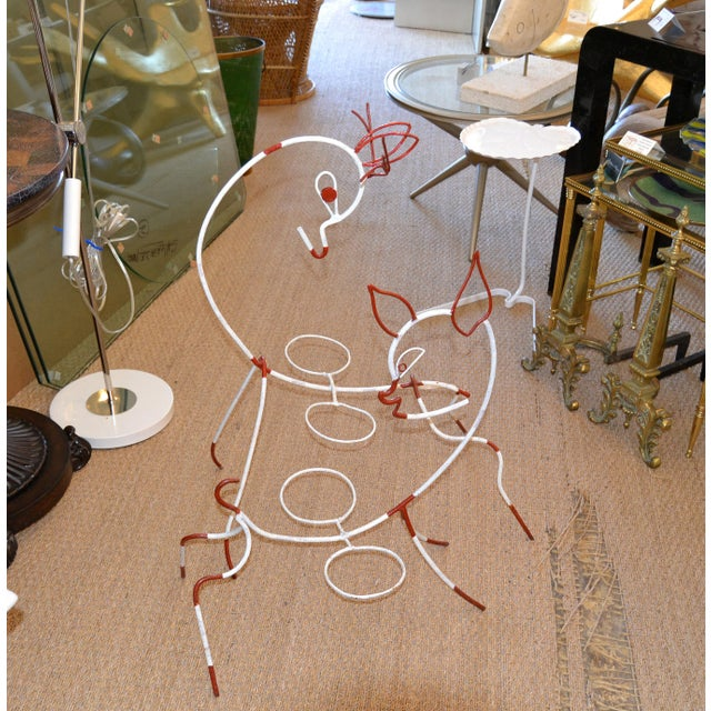 Red Frederick Weinberg Mid-Century Modern White & Red Iron Deer Sculptural Planter For Sale - Image 8 of 12