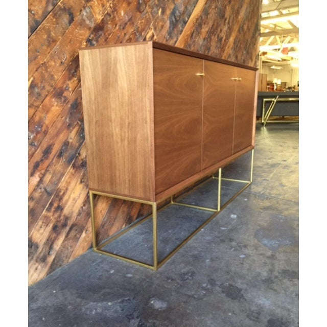 Custom Handmade Walnut Brass Base Credenza For Sale In Los Angeles - Image 6 of 9