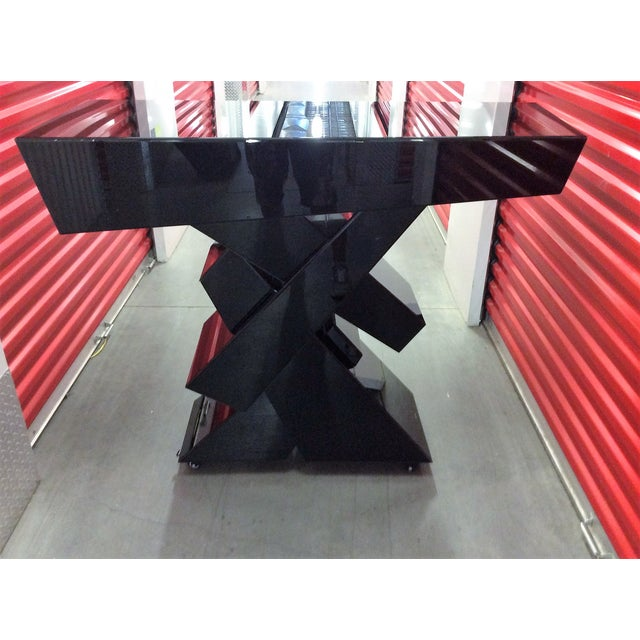 Modern Black Beveled Mirror Console Table - Image 2 of 11