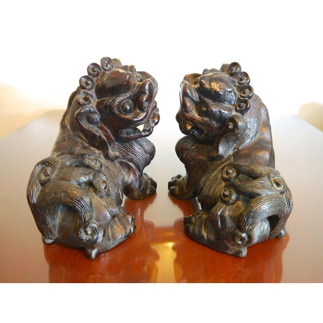 Chinese Hand Carved Wooden Foo Dogs- a Pair For Sale - Image 3 of 6