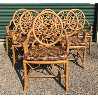 Late 20th Century Rattan Cracked Ice McGuire Style Chinoiserie Palm Beach Chairs - Set of 6 Preview