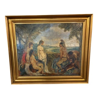 """1928 """"The Judgment of Paris"""",Oil Painting by Ludvig Jacobsen, Framed For Sale"""
