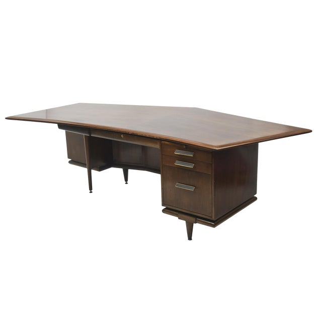 Fine American Modern Dark Walnut Executive Desk, Custom Made by Monteverdi Young For Sale