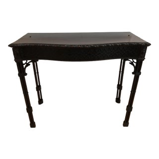 19th Century Chinese Chippendale Serpentine Mahogany Console Table For Sale