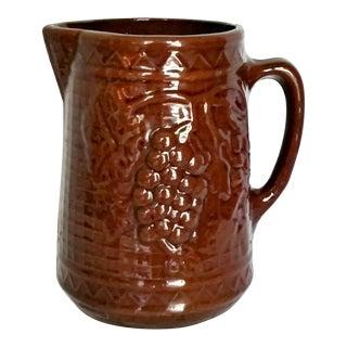 Antique Yellow Ware Stoneware Pitcher North Star Red Wing Grape & Lattice For Sale