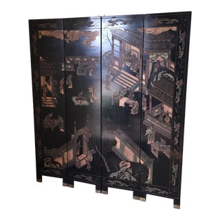 Semi Antique Chinese Coromandel Style Lacquered Folding Screen For Sale