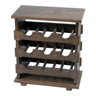 Vintage Wooden Wine Rack Side Table From Belgium For Sale