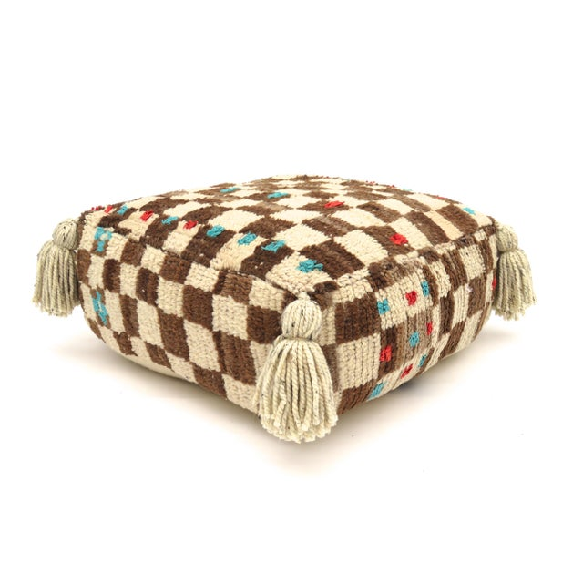 Vintage Mid Century Checkered Berber Pouf For Sale In Los Angeles - Image 6 of 11