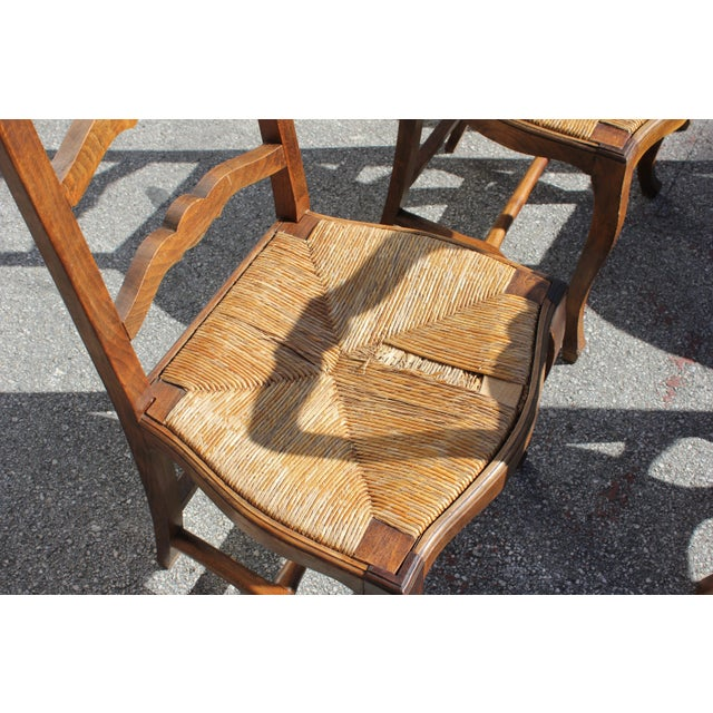 Early 20th C. Vintage French Country Rush Seat Walnut Dining Chairs - Set of 8 For Sale - Image 10 of 13