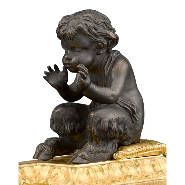 Louis XVI Bronze Chenets For Sale - Image 4 of 5