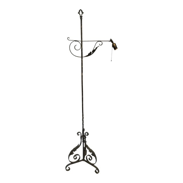 Antique Wrought Iron Floor Lamp For Sale