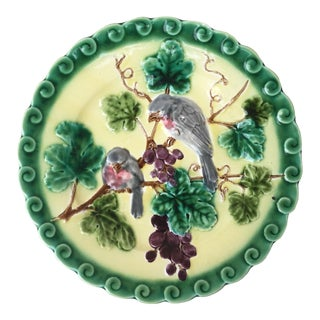 1880 Majolica Birds With Grapes Sarreguemines Plate For Sale