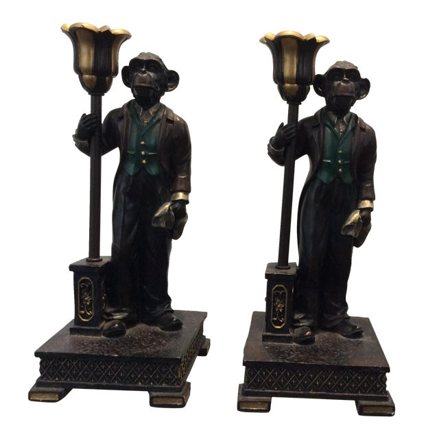 Monkey Candle Holder - A Pair - Image 1 of 4