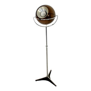 1970s Mid-Century Modern Danish Smoked Glass & Chrome Raak Globe Floor Lamp For Sale