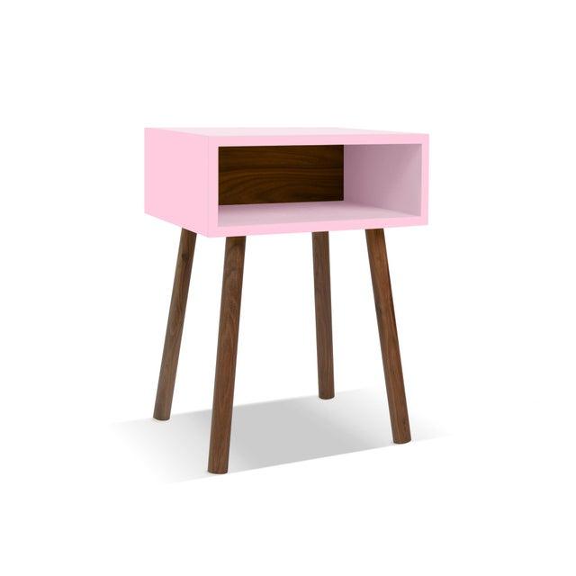 Modern Nico & Yeye Minimo Modern Kids Nightstand in Walnut and Pink For Sale - Image 3 of 3
