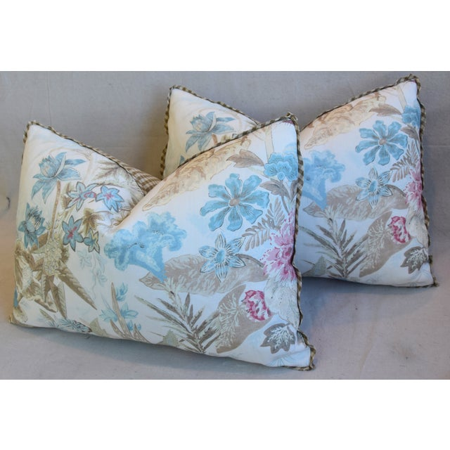 "White Cowtan & Tout Floral Linen Feather/Down Pillows 26"" X 18"" - Pair For Sale - Image 8 of 13"