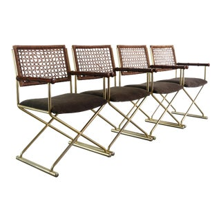 Set of 4 Brass Directors Chairs w/ Bamboo Arm Detailing For Sale