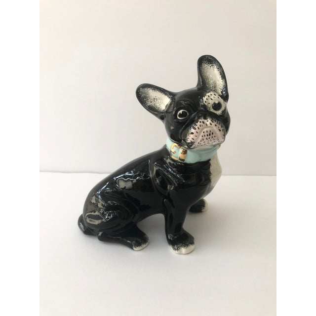 Vintage Black and White Ceramic French Bulldog For Sale - Image 10 of 10