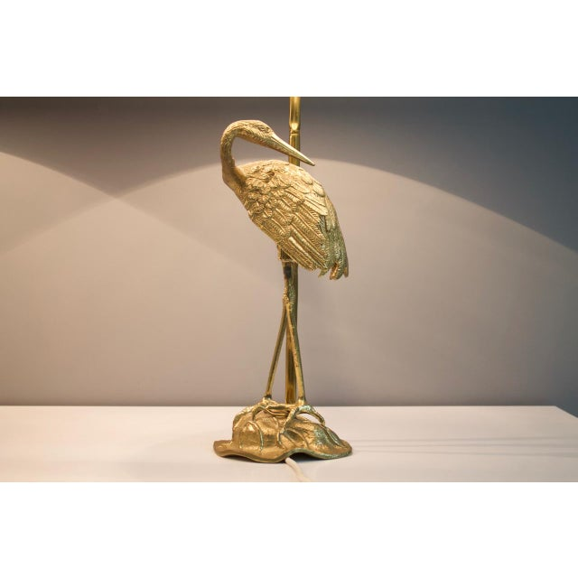 Pair of Crane Brass Table Lamps 1970s For Sale - Image 6 of 10